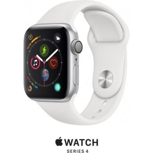 אונליין   Apple Watch Series 4 40mm   Silver Aluminium   White Sport Band