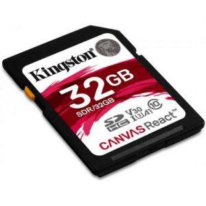 אונליין   Kingston Canvas React SDHC U3 UHS-I SDR/32GB -  32GB