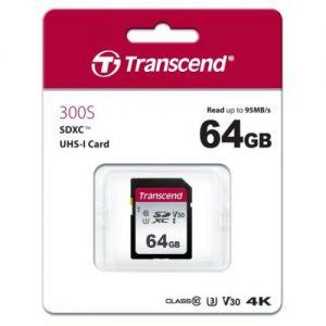 אונליין   Transcend 300S Secure-Digital SDXC UHS-I U3 TS64GSDC300S -  64GB