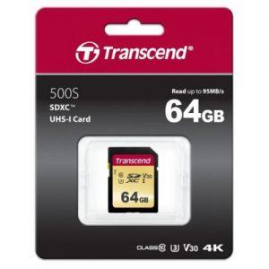 אונליין   Transcend 500S Secure-Digital SDXC UHS-I U3 TS64GSDC500S -  64GB