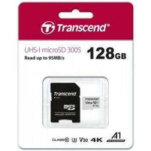 אונליין   Transcend 300S Micro SDXC UHS-I U3A1 TS128GUSD300S-A -  128GB -   SD