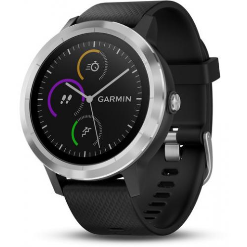 אונליין   Garmin Vivoactive 3 Black Silicone With Stainless Steel Hardware