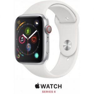 אונליין   Apple Watch Series 4 GPS + Cellular 40mm   Silver Aluminium   White Sport Band