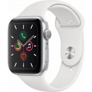 אונליין   Apple Watch Series 5 GPS 44mm   Silver Aluminium   White Sport