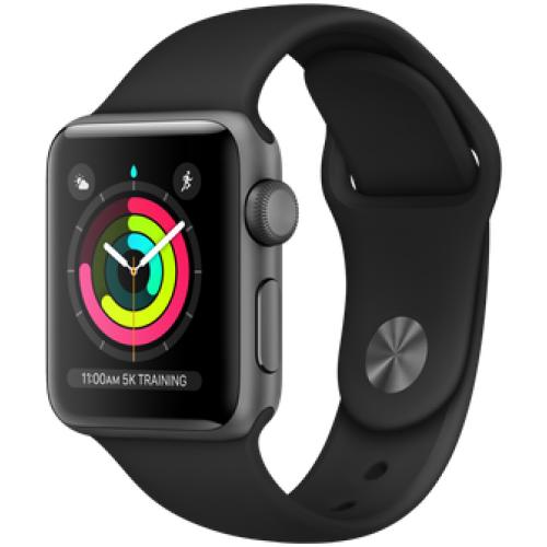 אונליין   Apple Watch Series 3 GPS 38mm   Space Grey Aluminium   Black Sport Band