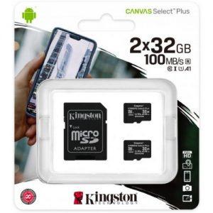 אונליין  2     Kingston Micro SDHC Canvas Select Plus UHS-I SDCS2/32GB-2P1A -  32GB