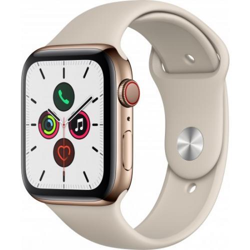 אונליין   Apple Watch Series 5 GPS + Cellular 44mm   Gold Stainless Steel   Stone Sport Band