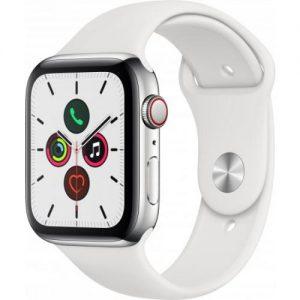 אונליין   Apple Watch Series 5 GPS + Cellular 44mm   Stainless Steel   White Sport Band