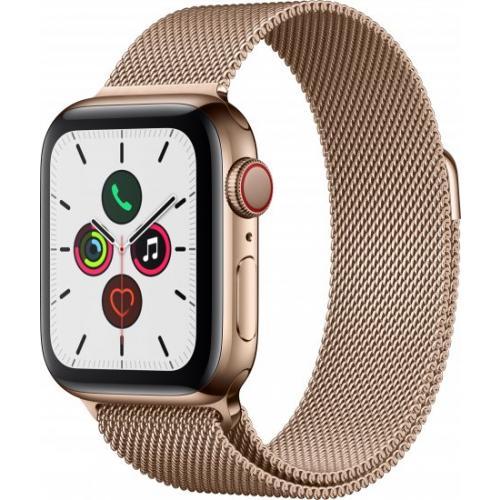 אונליין   Apple Watch Series 5 GPS + Cellular 40mm   Gold Stainless Steel   Gold Milanese Loop