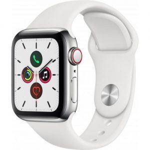 אונליין   Apple Watch Series 5 GPS + Cellular 40mm   Stainless Steel   White Sport Band