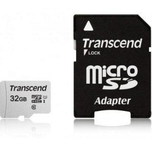 אונליין   Transcend 300S Micro SDHC UHS-I U1 TS32GUSD300S-A -  32GB -   SD