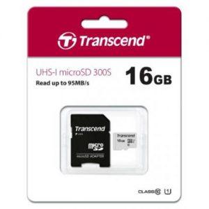 אונליין   Transcend 300S Micro SDHC UHS-I U1 TS16GUSD300S-A -  16GB -   SD