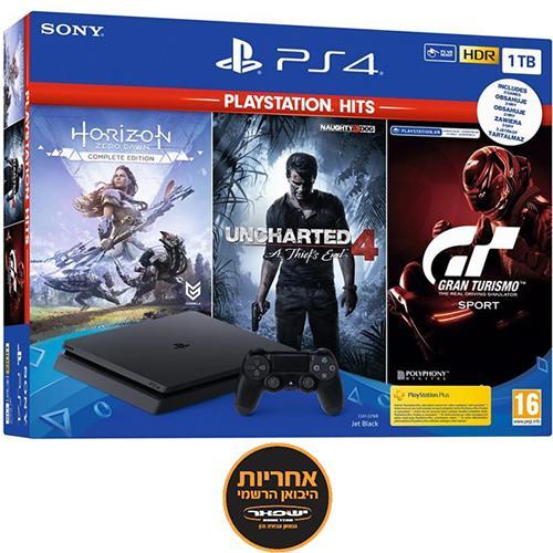 אונליין   Sony PlayStation 4 Slim 1TB -    Gran Turismo Sport + Horizon Zero Dawn + Uncharted 4 hits  -