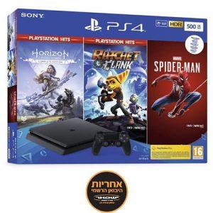 אונליין   Sony PlayStation 4 Slim 500GB -    Spider-Man + Horizon Zero Dawn + Ratchet & Clank -