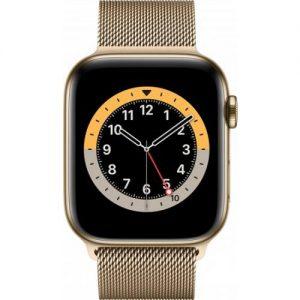אונליין   Apple Watch Series 6 GPS + Cellular 44mm   Gold Stainless Steel   Gold Milanese Loop