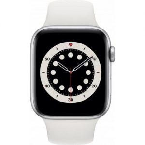 אונליין   Apple Watch Series 6 GPS 44mm   Silver Aluminum   White Sport Band