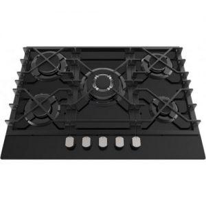 אונליין כיריים גז 5 להבות בישול בגימור זכוכית שחורה Ly Vent HOT677BL