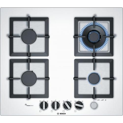 אונליין כיריים גז 4 להבות בישול Bosch Serie 6 PPH6A2M20Y FlameSelect - בגימור זכוכית מחוסמת בצבע לבן - שנה אחריות יבואן רשמי BSH