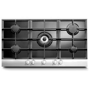 אונליין כיריים גז 5 להבות בישול Sol FL9GW-099 - זכוכית שחורה בשילוב נירוסטה