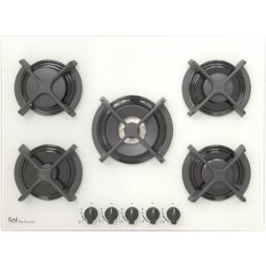 אונליין כיריים גז 5 להבות בישול Sol FQ7GCW-275 - זכוכית לבנה