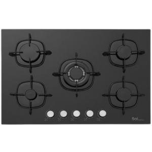 אונליין כיריים גז 5 להבות בישול Sol F7GBET-574 - זכוכית שחורה