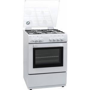 אונליין תנור משולב כיריים גז 68 ליטר 5 תוכניות 4 אזורי בישול Crown CRS-6000W - צבע לבן - שנה אחריות יבואן רשמי על ידי ניופאן